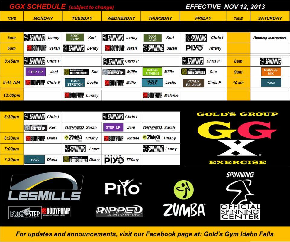 gold's schedule